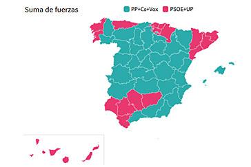 PP, Cs y Vox ganan en 34 provincias a la suma de PSOE y Podemos