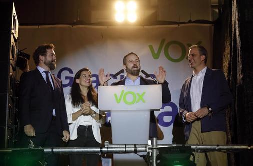La cúpula de Vox en la noche electoral.
