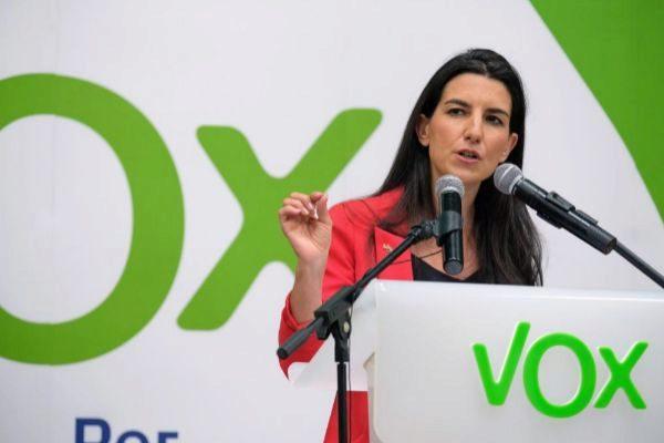 Rocío Monasterio en un mitin de Vox en Logroño.
