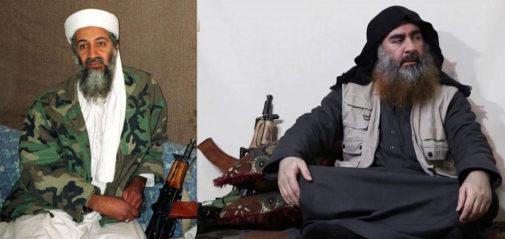 Osama Bin Laden en 2001 y Al Bagdadi en 2019, los dos junto a su AK74U.