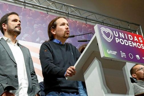 Pablo Iglesias y Alberto Garzón, durante la valoración de resultados