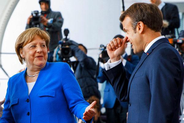 Angela Merkel y Emmanuel Macron, hoy en Berlín.