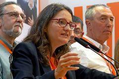 La vicepresidenta del Consell, Mónica Oltra, en la sede de Compromís valorando los resultados.