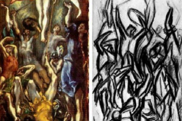 El maridaje de El Greco y de Pollock es fascinante pero, a la vez, también equívoco. Está claro que Pollock se inspiró en El Greco, sobre todo por la semejanza de las figuras de la parte inferior. Pero la Resurrección del artista de Creta supone ascenso, luz, esperanza: la esperanza de la luz que todos buscaoms, que anhelamos. En cambio, la obra de Pollock nos sugiere lo oscuro, hacia el infierno. Esto es evidente nada más que ver las dos obras juntas. La del Greco posee colores mientras que la de Pollock está desprovisto de ellos. Y, además, sin la figura de Jesucristo. Si tuviera que elegir, me quedaría con la visión y el color de El Greco. Pollock me interesa de otro modo: aborda la luz de la oscuridad. Nos presenta un mundo sin esperanza. Que me guste el cuadro, que me interese Pollock, no quiere decir que tenga que participar de ello. Me quedo con la luz.