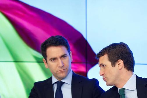 Pablo Casado y Teodoro García-Egea, este martes en el Comité Ejecutivo Nacional del PP.