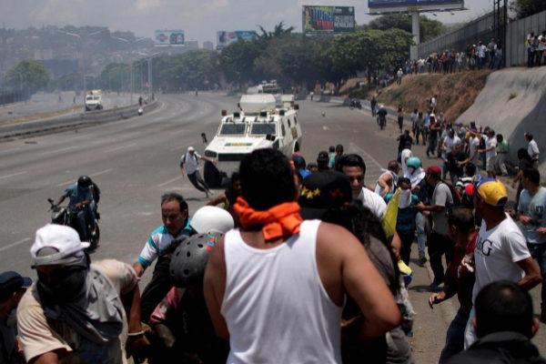 Opposition demonstration near the Generalisimo Francisco de Miranda...
