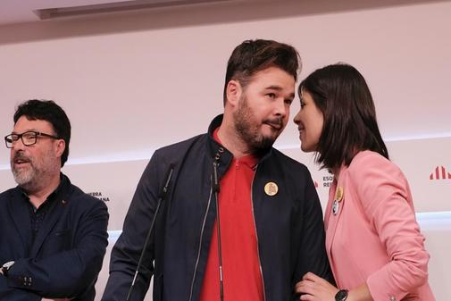 Jordi Soteras Catalunya Barcelona 29/04/2019 Rueda de prensa tras la reunion de la ejecutiva de <HIT>ERC</HIT> en la foto Nuet ,Rufian y Marta Vilalta Foto Jordi Soteras