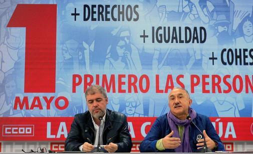 Unai Sordo y Pepe Álvarez  presentan el pasado lunes los actos y manifestaciones que ambos sindicatos han organizado en todo el país.