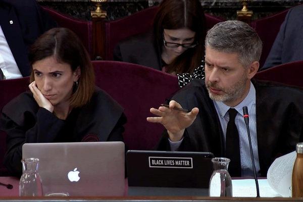 Van Eynde, abogado de Junqueras y Romeva, ayer en el juicio del 'procés'.