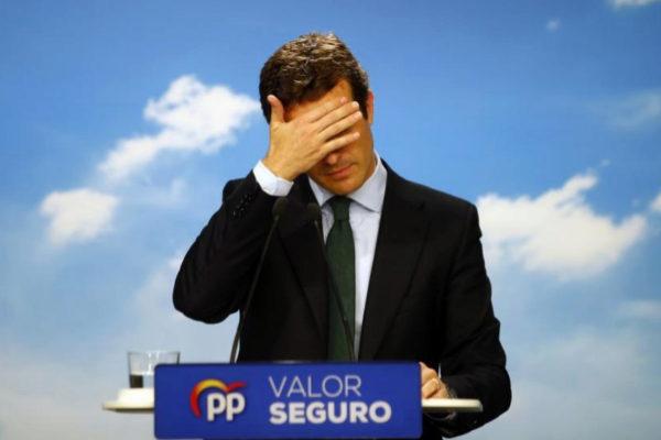 Pablo Casado, durante la rueda de prensa en la sede del PP en la calle...