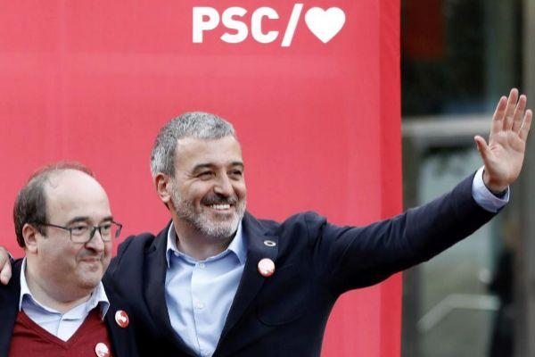 Jaume Collboni y el primer secretario del PSC, Miquel Iceta
