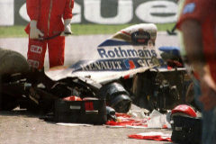 El Williams de Ayrton Senna, tras el accidente en Imola.