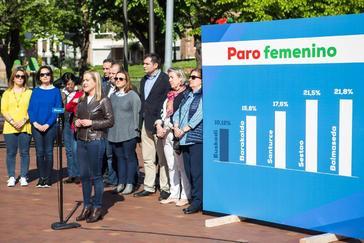 Amaya Fernández en el acto organizado esta mañana por el PP de Bizkaia en Sestao.