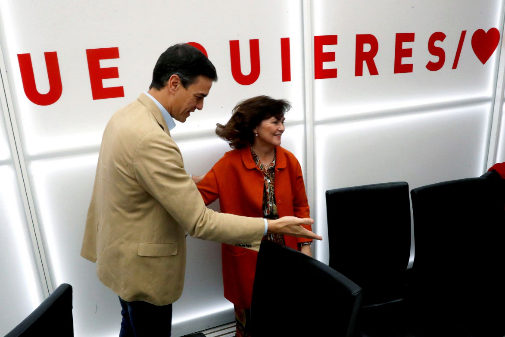 Pedro Sánchez y Carmen Calvo, en la Ejecutiva del PSOE