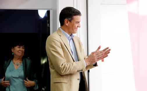 Pedro Sánchez en la sede central del PSOE, tras su victoria en las elecciones del 28A