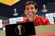 Marcelino García, en la sala de prensa de Anfield.