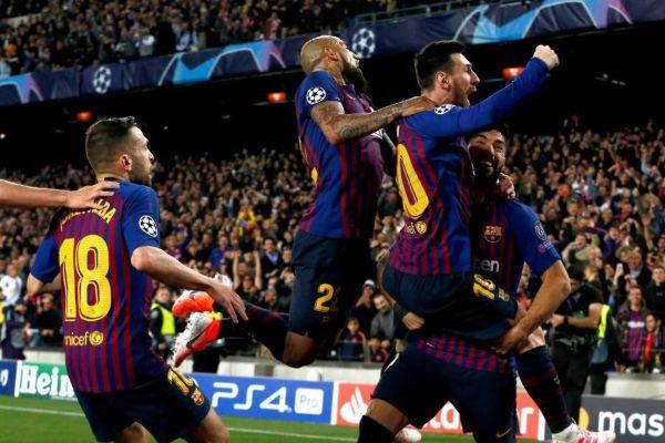 GRAF1729. BARCELONA.- El delantero argentino del FC Barcelona Leo <HIT>Messi</HIT> (c) celebra su gol, segundo del equipo ante el Liverpool, durante el partido de ida de las semifinales de la Liga de Campeones que FC Barcelona y Liverpool disputan esta noche en el Camp Nou, en Barcelona. Enric Fontcuberta