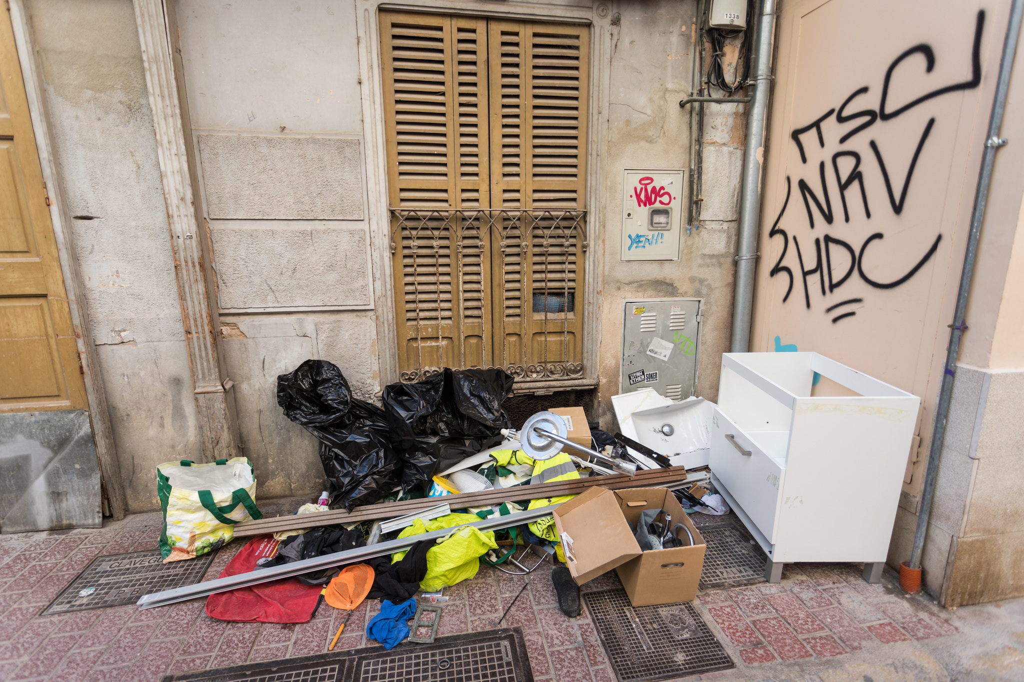 Estado de una calle del centro de Palma.
