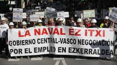 Una manifestación de trabajadores de La Naval.