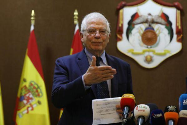 El ministro de Exteriores de España, Josep Borrell, durante su visita a Amman.