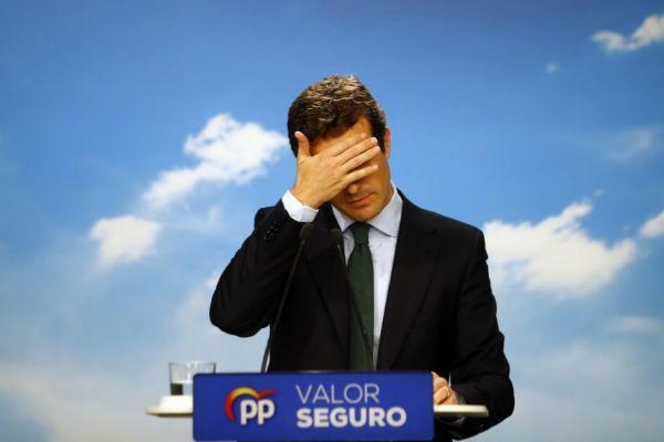 El presidente del PP, Pablo Casado, durante su rueda de prensa posterior al 28-A.