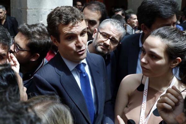 El líder 'popular', Pablo Casado, durante los actos del 2 de mayo.