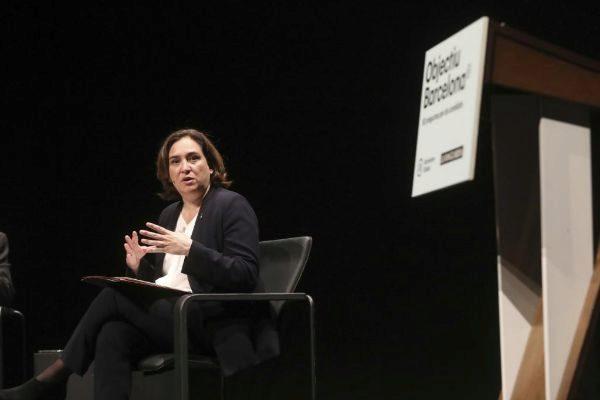 La alcaldesa de Barcelona, Ada Colau, en un acto de Barcelona Global ayer.