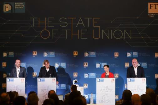 02.05.2019. Florencia. Italia. Debate entre los cuatro candidatos a...