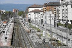 Trazado ferroviario actual en el centro de Vitoria.