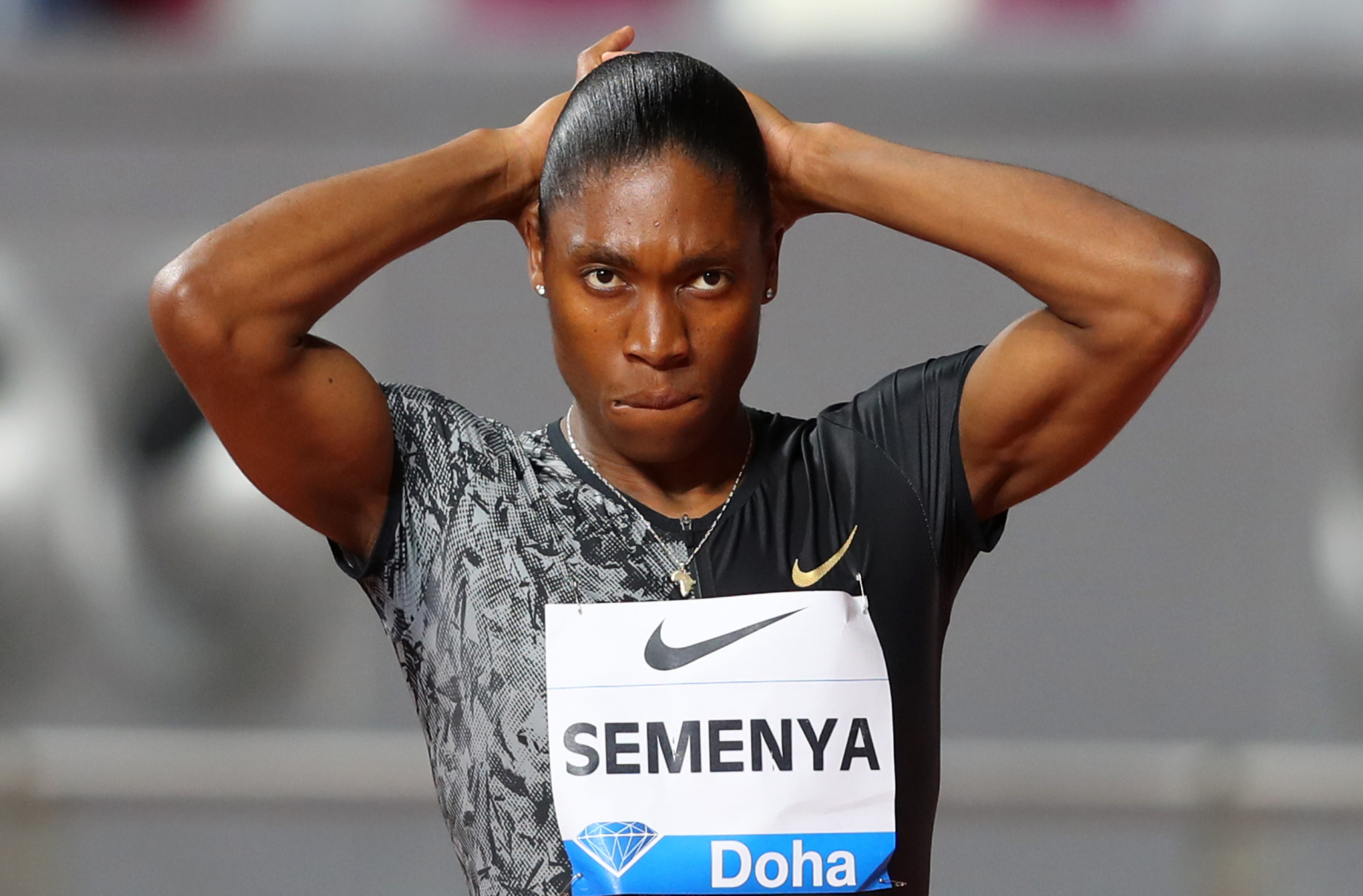 DOHA, QATAR - MAY 03: Caster <HIT>Semenya</HIT> of South Africa looks...