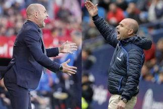 Paco Jémez (Rayo) y Paco López (Levante) dan instrucciones durante un partido de Liga.,