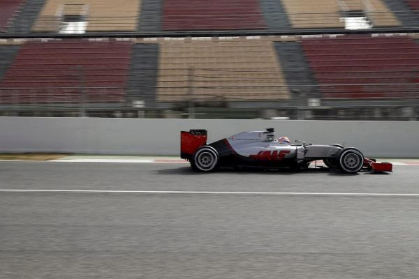 El Haas de Grosjean, en Montmeló, en una imagen de 2016.