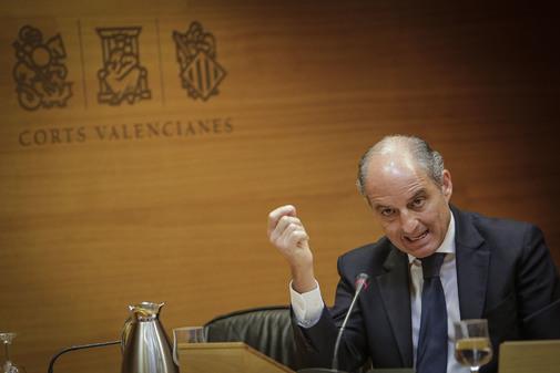 Francisco Camps, en su última comparecencia en las Cortes Valencianas.