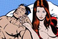 Ilustración de una pareja en la cama.