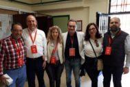 El candidato del PSOE, Paco Sanguino, con Ángel Franco, Miguel Millana, Trini Amorós y Carlos Giménez.