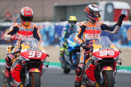 Marc Márquez y Jorge Lorenzo, este sábado en Jerez.