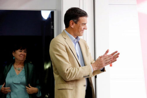 Pedro Sánchez, a su llegada a la Ejecutiva del PSOE tras el 28-A