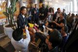 Naomi Osaka atiende a la prensa en la Caja Mágica.