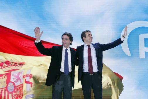 José María Aznar y Pablo Casado, en la Convención del PP en enero