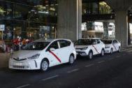 Taxis en el aeropuerto de Madrid, el pasado mes de julio