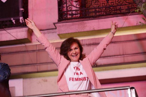 Carmen Calvo celebra los resultados del 28-A.