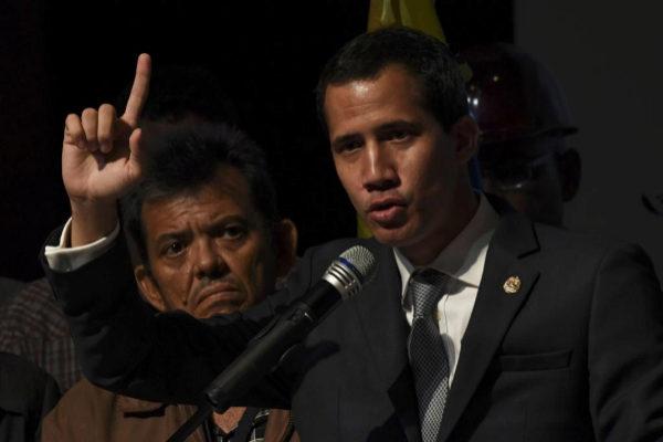 El líder opositor Juan Guaidó, durante un acto en Caracas.
