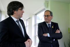 Carles Puigdemont y Quim Torra en Waterloo.