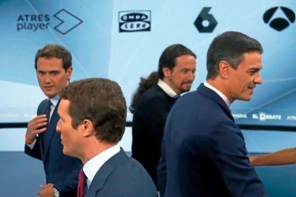 Los cuatro líderes nacionales en el debate de Atresmedia.