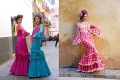Las modelos Alejandra Sánchez y Miriam Casado, vestidas de flamenco por la diseñadora Ángeles Verano.