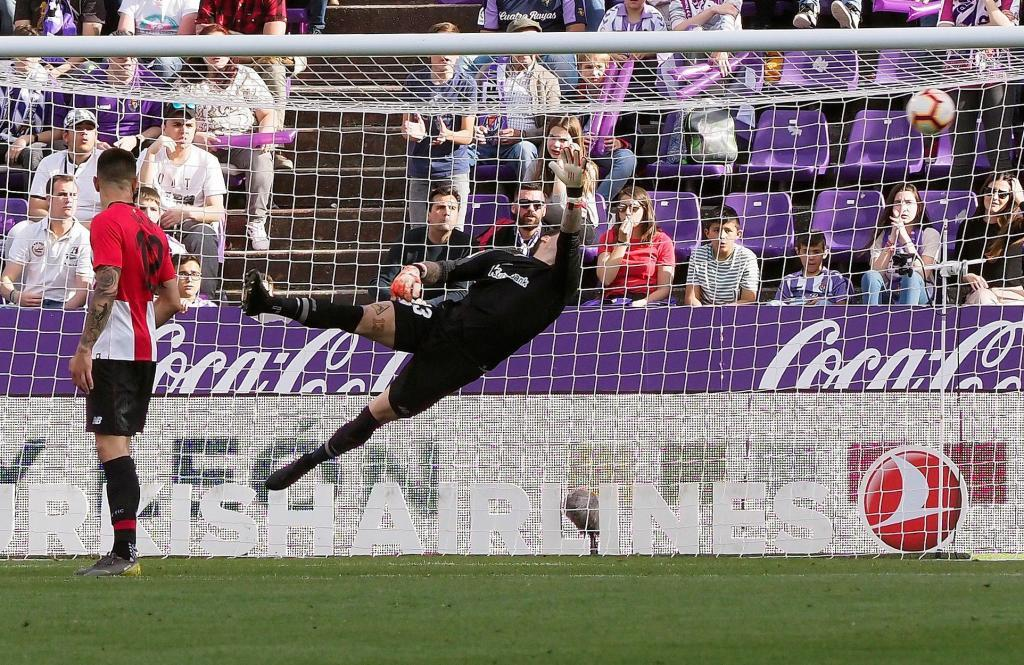 Waldo Rubio marca el gol de la victoria del Valladolid ante el Athletic.