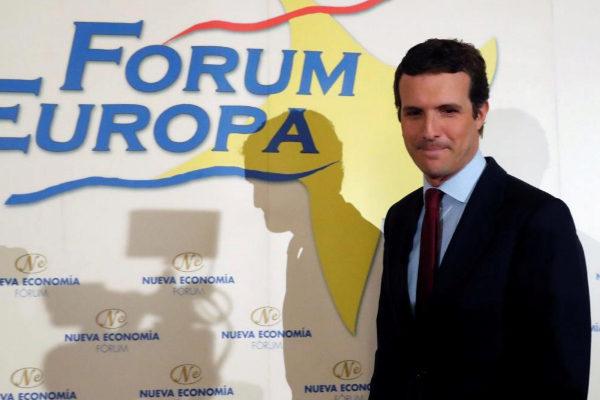 Pablo Casado, al inicio del desayuno informativo de Fórum Europa.
