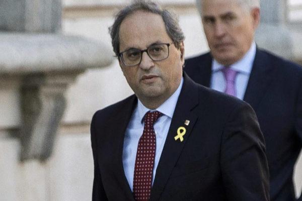 El presidente de la Generalitat, Quim Torra, durante una de sus...