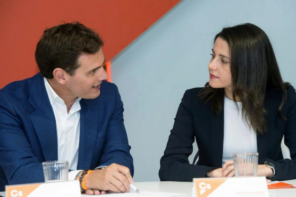 Albert Rivera e Inés Arrimadas, durante la reunión de la Ejecutiva de Ciudadanos.