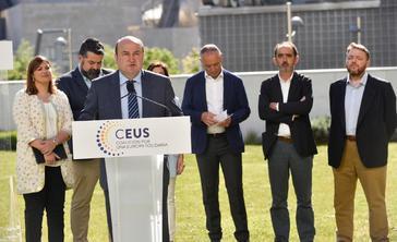 El presidente del PNV, Andoni Ortuzar, durante la presentación de la candidatura Ceus.